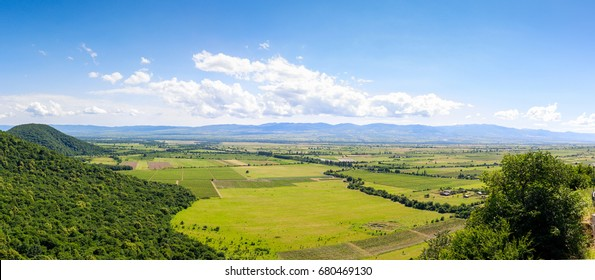 Panoramic view of the Alazani valley from the height of the hill. Kakheti region