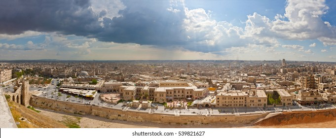 Panoramic view of Aleppo before war