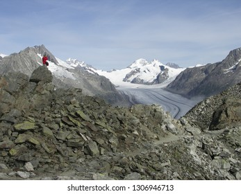 Panoramic view to Aletsch glacier & Jungfrau, Mönch, Eiger summits from Eggishorn summit in Switzeland