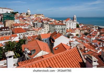 Panoramic view of Alfama, Lisbon, Portugal