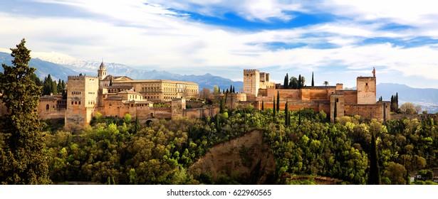 Panoramic view of the Alhambra from Mirador de San Nicolas, Granada