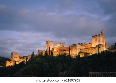 Panoramic view of the alhambra at night, in Granada, Andalusia, South spain, where Federico Garcia Lorca was born and visited by Washington Irving