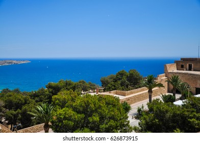 Panoramic view of Alicante city from the watchtower Santa Barbara castle. Valencia province, Spain.