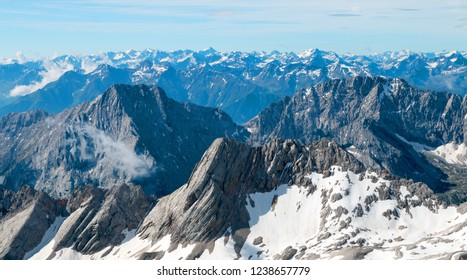 Panoramic view to Allgau or Allgaeu Alps. First snow in Zugspitze arena. Bavaria, Germany.