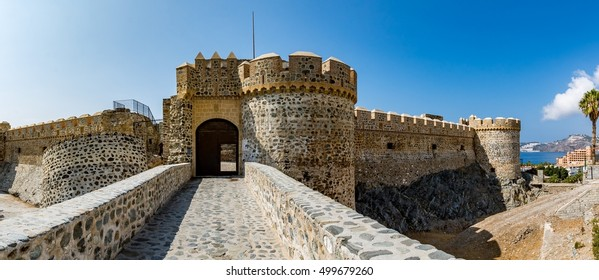 Panoramic view of Almunecar castle on a beautiful day, Spain