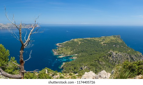 Panoramic view along an hinking trail in the Victoria Peninsula in Mallorca