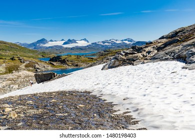 Panoramic view along National scenic route Sognefjellet between Skjolden and Lorn in Sogn og Fjordane in Western Norway.