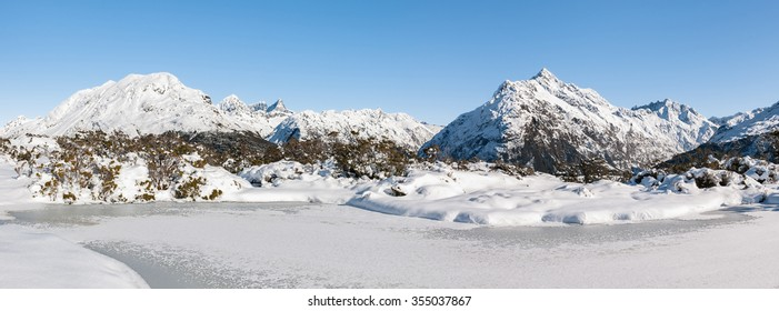Panoramic view along the Routeburn track, Mount Aspiring N.P., New Zealand.