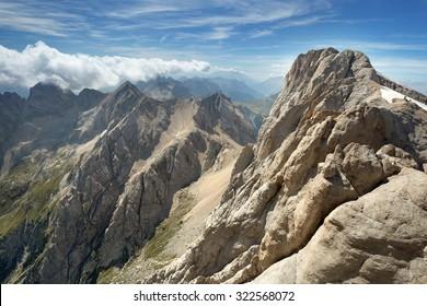 panoramic view of an alpine mountain range