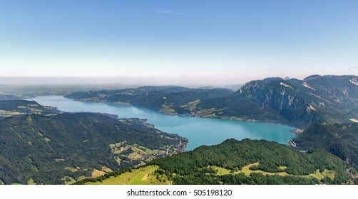 Panoramic view of Alps mountain with Attersee lake from Schafberg mountain, Austria