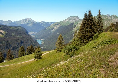 A panoramic view of Alps with mountain lake in Haute-Savoie