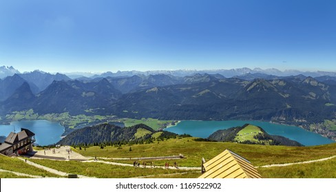 Panoramic view of Alps mountain with Wolfgangsee lake from Schafberg mountain, Austria