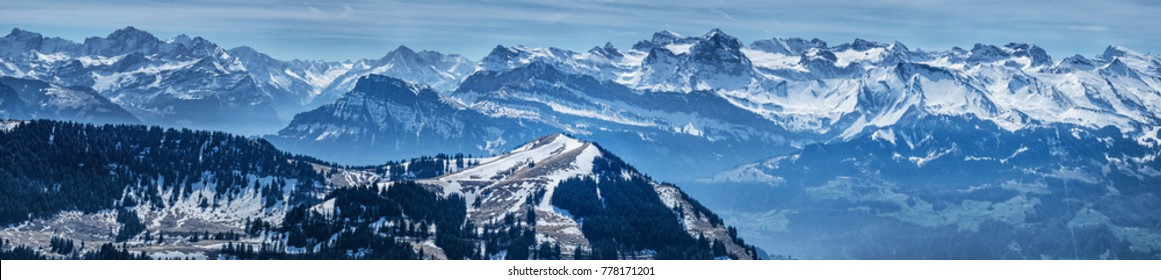 Panoramic view alps from Rigi Kulm (Summit of Mount Rigi, Queen of the Mountains) Switzerland