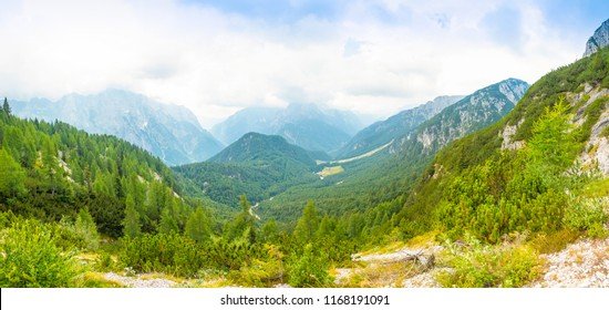 Panoramic view of Alps from road to Mangart saddle in Slovenia