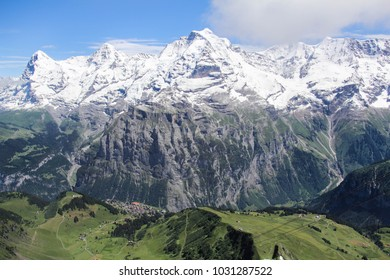 A panoramic view of the Alps in Southwest Swizterland in summer