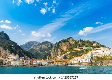 Panoramic view of Amalfi. Italian seaside town on coastline of Tyrrhenian Sea at sunny day