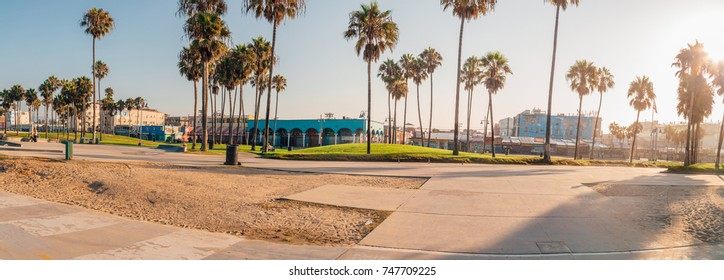 Panoramic view of an amazing artistic Venice beach district in Los Angeles. USA. April 10, 2017