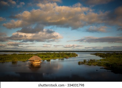 Panoramic view of the Amazon River at the afternoon. Iquitos, Peru.
