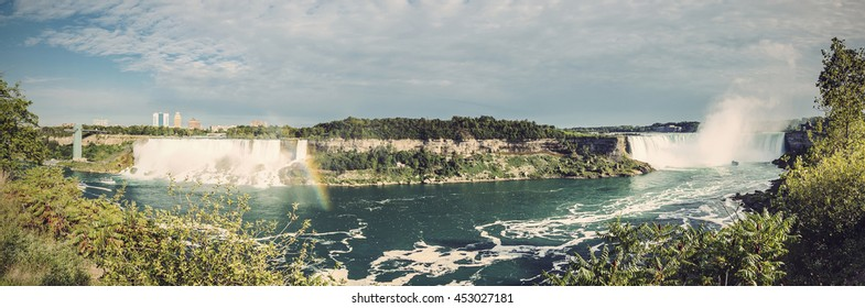panoramic view of American and Canadian Niagara Falls, Ontario, Canada, Vintage filtered style