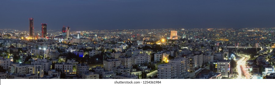 Panoramic View Of Ammans Famous Landmarks At Night