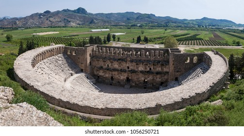 Panoramic view of amphitheatre in Aspendos, Turkey