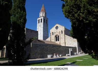 Panoramic view of the ancient basilica of Santa Maria Assunta in Aquileia, Italy