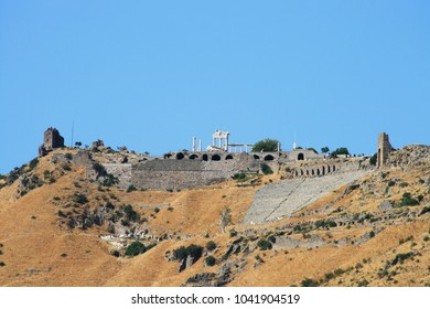 Panoramic view to the ancient city Pergamon and the Temple of Trajan, Bergama, Turkey