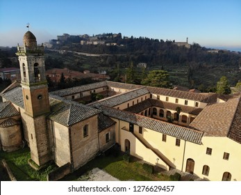 Panoramic view of ancient Etruscan city of Volterra, Tuscany, Italy by drone