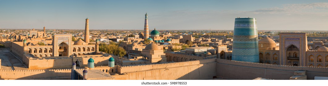 Panoramic view of the ancient fortress Ichan Kala from the observation deck at sunset. Khiva, Uzbekistan