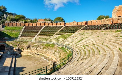 Panoramic view of the ancient Greek Theatre (Teatro Greco) in Taormina. Sicily, Italy