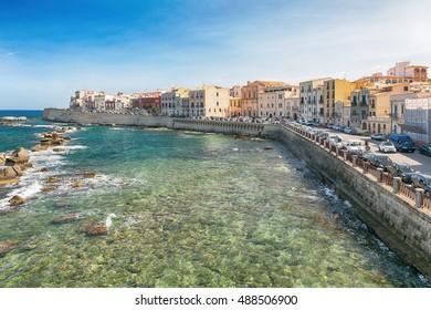 Panoramic view of the ancient Ortigia island, Syracuse, Sicily. Italy.