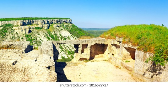 Panoramic view of ancient ruins of hilltop cave city Chufut-Kale. Crimea
