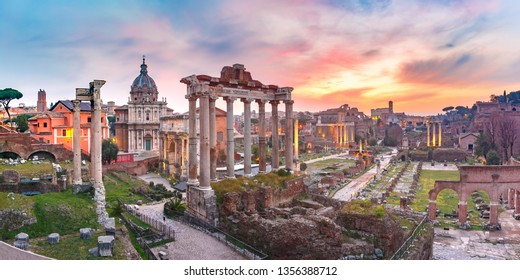 Panoramic view of ancient ruins of a Roman Forum or Foro Romano at sunsrise in Rome, Italy. View from Capitoline Hill