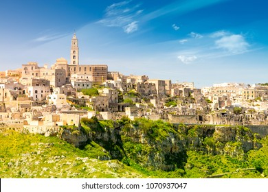 Panoramic view of ancient town of Matera (Sassi di Matera), Basilicata, southern Italy