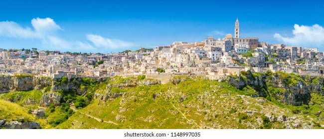 Panoramic view of ancient town of Matera (Sassi di Matera), Basilicata, southern Italy