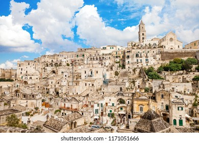 Panoramic view of the ancient town of Matera (Sassi di Matera), European Capital of Culture 2019,  Basilicata, Southern Italy