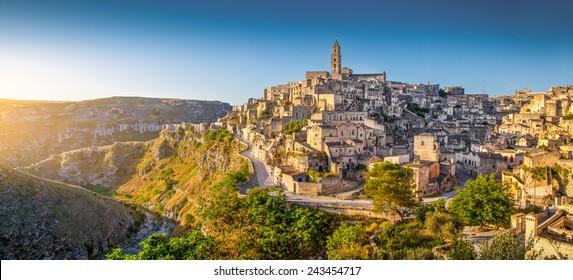 Panoramic view of ancient town of Matera (Sassi di Matera) at sunrise, Basilicata, southern Italy