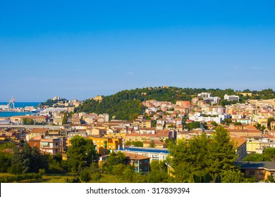 Panoramic view of Ancona city in the marche region, Italy.