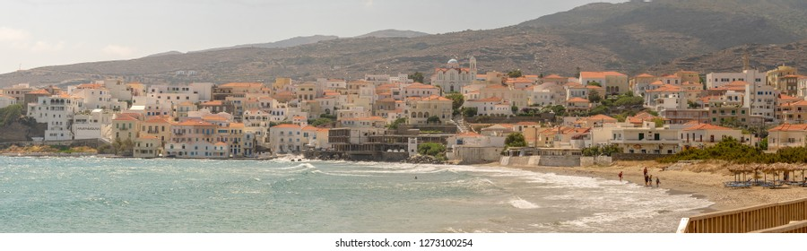 Panoramic view of Andros town in Andros island in Greece.