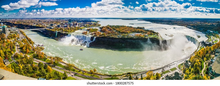 Panoramic view ang coin operated sightseeing Binocular on Niagara Falls. Canada.