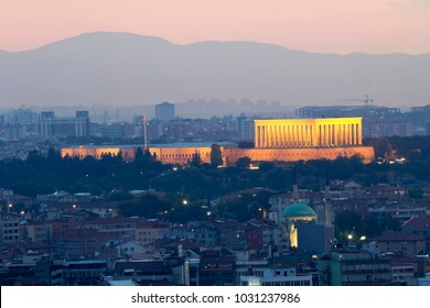 Panoramic view of  Ankara and Anitkabir, Tomb of Ataturk, founder of republic of Turkey