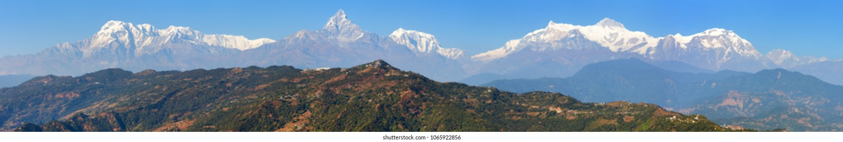 Panoramic view of Annapurna range, Nepal Himalayas mountains