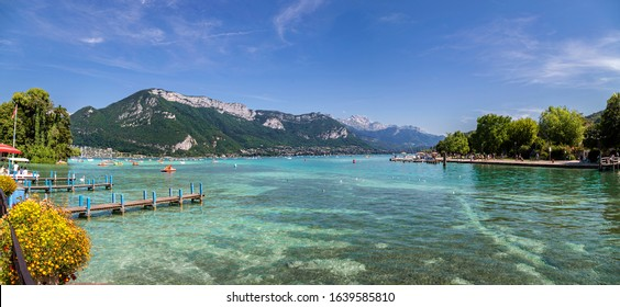 Panoramic view of Annecy Lake in summer. Turqoise water. Landscape