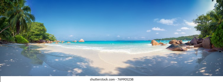 panoramic view of anse lazio beach praslin island seychelles