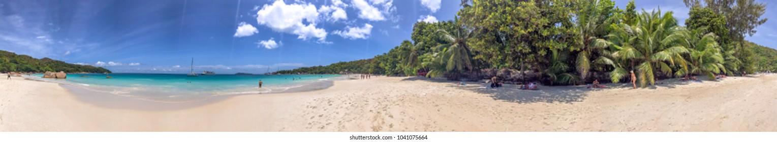 Panoramic view of Anse Lazio, Praslin - Seychelles.