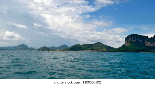 Panoramic view of the Ao Nang bay from a long tail boat