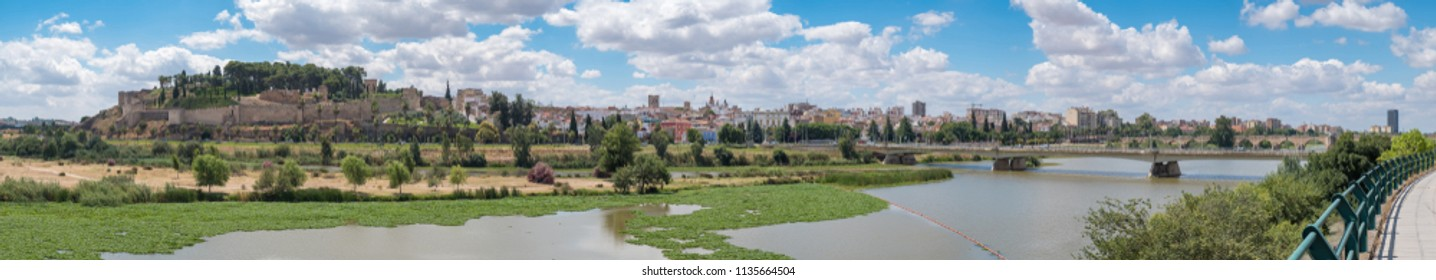 Panoramic view of the Arab Alcazaba of the city of Badajoz with the Guadiana river in front
