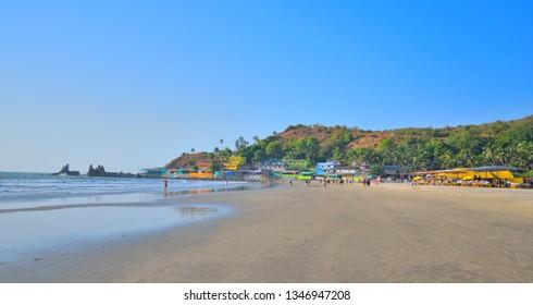 Panoramic view of Arambol beach in Goa.