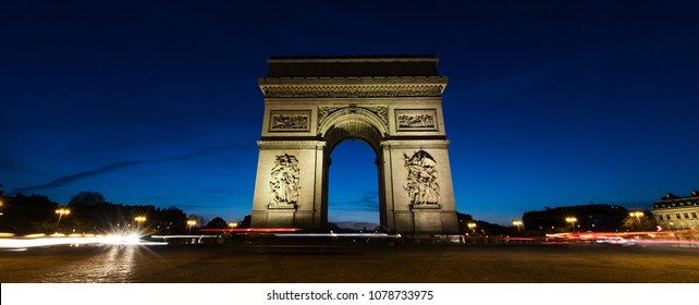 Panoramic view of Arc De Triomphe in Paris, France at night