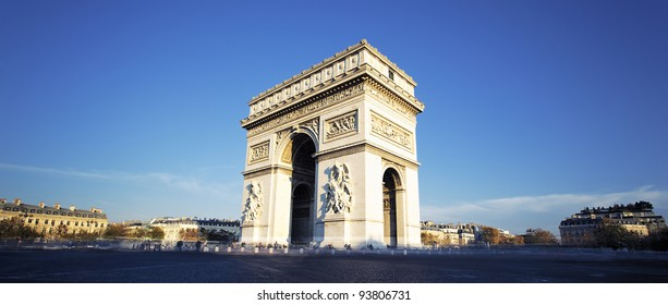 panoramic view of the Arc de Triomphe, Paris, France